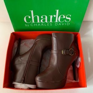 CHARLES by Charles David Brown Leather Booties  11